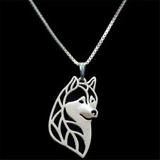Artistic Silver Plated Husky Dog Charm Necklace Pendant