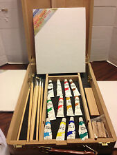 Artist Painter's Case Box Portable Travel Easel, Paints, Canvas, Brushes