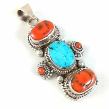 OLD VINTAGE 925 SOLID STERLING SILVER GENUINE TURQUOISE CORAL PENDANT NECKLACE