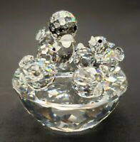 Vintage Swarovski Crystal Mother Bird & 3 Babies On Bird Bath 7470 NR 050