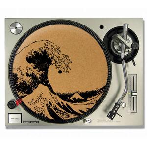 The Great Wave Off Kanagawa Hokusai Vinyl CORK SLIPMATS / Turntable SLIP MATS