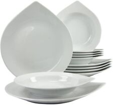 Speiseservice 12 Tlg. Essgeschirr Tropfenform Speiseteller Suppenteller eckig