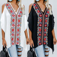 Womens Summer Bohemia Print Long Sleeve Shirt Loose Casual Blouse Tops T-Shirt