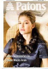 Patons Colour Works Aran Ladies Hat Scarf Loop Leg Warms Knitting Pattern 3855