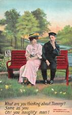 """COUPLE ON BENCH   """"Tommy~Naughty Man""""    1907 Risque Samforth Postcard"""