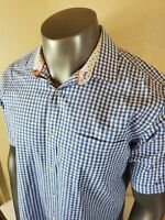 Bugatchi Uomo Mens Blue White Check Classic Fit Button Up Shirt Size Large