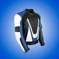 Yamaha Leather Black Retro Motorcycle Motorbike Armoured Protection Jacket Blue