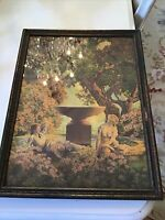 "Maxfield Parrish Golden Reveries Vtg Print 14.5 X 10.5"" Ladies Wood Frame"