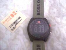 New Hugo BOSS Orange Watch Stainless Steel Army Green Silicone Strap Quartz mens