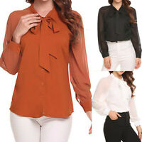 Women OL Work Office Long Sleeve Bow Tie Ruffles Chiffon Blouse Tee Shirt Tops