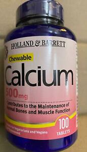 Holland & Barrett Chewable Calcium 500mg 100 Tablets  Sealed...!!!