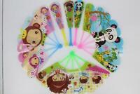 Plastic Hand Fan 5Pcs Lovely Summer Folding Design Cartoon Design Gifts For Kids