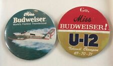 Vintage LoT Of 2 U-12 Miss Budweiser, World's Fastest, Champion Rare Pin Button
