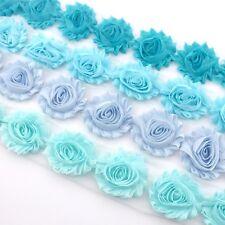 10 Shabby Chiffon rose flower trim in aqua/blue tones - millinery, hair, craft