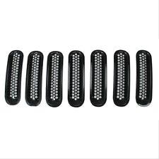7 Pcs Black Front Grill Mesh Grill Insert Kit for Jeep Wrangle Rubicon Sahara JK