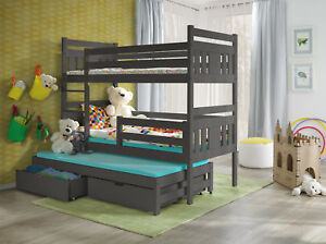 Wooden Bunk Bed Childrens  Triple Or Double Sleeper With Storage Mattresses