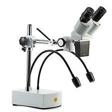 Swift Optical Stereo Microscope 10x 20x Boom Arm Stand Dual Gooseneck Led Light