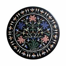 24 Inches Round Marble Coffee Table Top Black Center Table with Marquetry Art