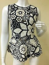 Oscar De La Renta Vintage Collection Sleeveless Hand Crochet with Flowers