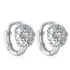 Hoop Earrings Cubic Zircon White Gold Plated Ear Fashion Women Girl  Huggies
