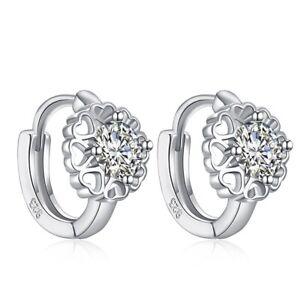 Hoop Earrings Cubic Zirconia White Gold Plated Ear Fashion Women Girl  Huggies