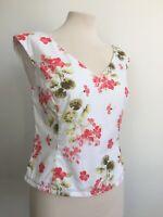 Laura Ashley Vintage Floral Botanical Cottagecore Top 100% Cotton Size 10