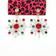 Hot Colored Christmas Snowflake Crystal Betsey Johnson Women Stand Earrings