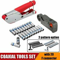 Coaxial Tool Set Cable Wire Crimping Pliers Stripper Clamp W/ 20F Connector Head
