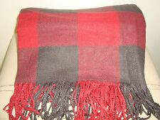 Pottery Barn Buffalo Check Plaid Throw   RED/BLACK  NEW 50 x 60