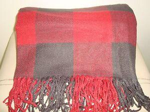 Pottery Barn Buffalo Check Plaid Throw   RED/BLACK  NEW 50 x 60
