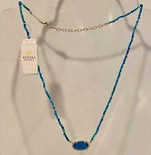 KENDRA SCOTT Elisa Gold Beaded Teal Agate Pendant Necklace       NEW