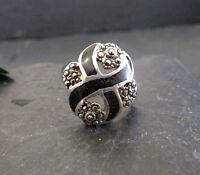 Schöner 925 Silber Ring Kinderring Markasiten Jugendstil Art Deco Email Elegant
