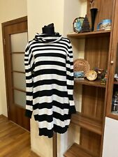 MARIMEKKO MIKA PIIRAINEN BLACK/WHITE WOOL BLEND STRIPED JUMPER DRESS-L