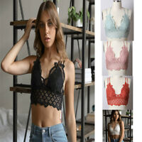 Hot Women's Sexy  Floral Crochet Lace Spaghetti Strap Bralette Crop Bikini Top