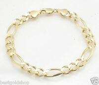 8mm Mens Solid Royal Figaro Link Chain Bracelet Real 10K Yellow Gold 13.7gr