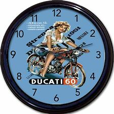 Ducati 60 Motorcycle Wall Clock Chopper Hog Biker Easy Rider Italy Garage 10""