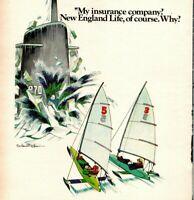 Vintage Print Ad 1973 Ice Sailing New England Life Insurance Rowland Wilson Art