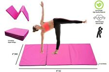 ToyKraft 2x6 FT Tumble Mat Gymnastics Aerobics Tri Fold Workout Folding Gym Mat