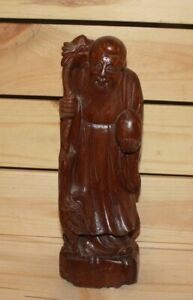 Vintage Asian hand carving wood statuette Confucius