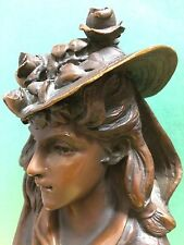 VTG. VICTORIAN BRONZE BUST STATUE OF LADY IN HAT WITH ROSES ON MARBLE PEDESTAL.