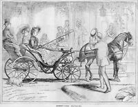 HORSE CARRIAGE DOG FASHION, 1870 ANTIQUE WOOD-CUT ENGRAVING, HORSE VINTAGE COACH
