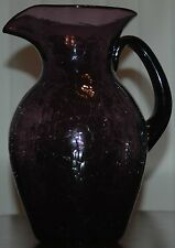 "Mid Century Blenko Purple Amethyst Crackle Glass Water Pitcher Vase 11"" Tall"