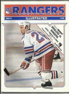 January 13, 1991 Rangers vs Whalers Hockey Program--Mallette