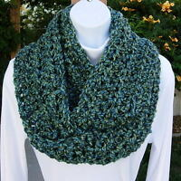 Blue & Green Infinity Scarf Soft Handmade Warm Crochet Knit Circle Winter Loop