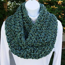 SCARF INFINITY LOOP Blue & Green, Soft Handmade Crochet Knit Circle Winter Cowl