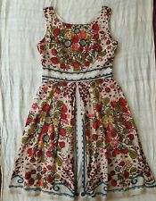 MAIOCCHI COTTON/SILK Pleated A-line Floral Dress, Size 12 Spring/Summer Fem!