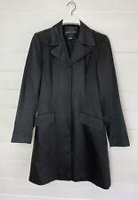 Warehouse Black Satin Longline Equestrian Fitted Jacket Blazer Coat 12 40