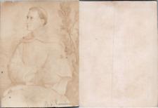 Abbé en soutane blanche, d'après un dessin, circa 1870 CDV vintage albumen