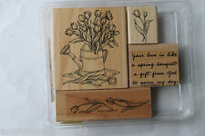"Stampin Up Spring Bouquet set of 4 ""Retired"" Tulips, Watering Can, Gift...God"