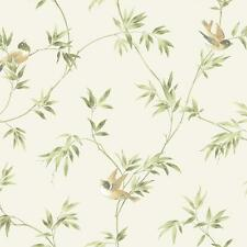 Wallpaper Songbird Vine Cute Birds Green Tan on Off White Background